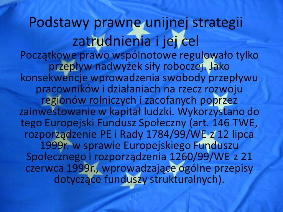 Podstawy prawne unijnej strategii zatrudnienia i jej cel