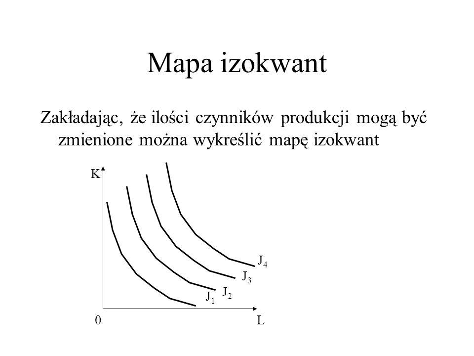Mapa izokwant Zakładając, że ilości czynników produkcji mogą być zmienione można wykreślić mapę izokwant.