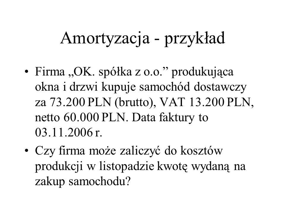 Amortyzacja - przykład