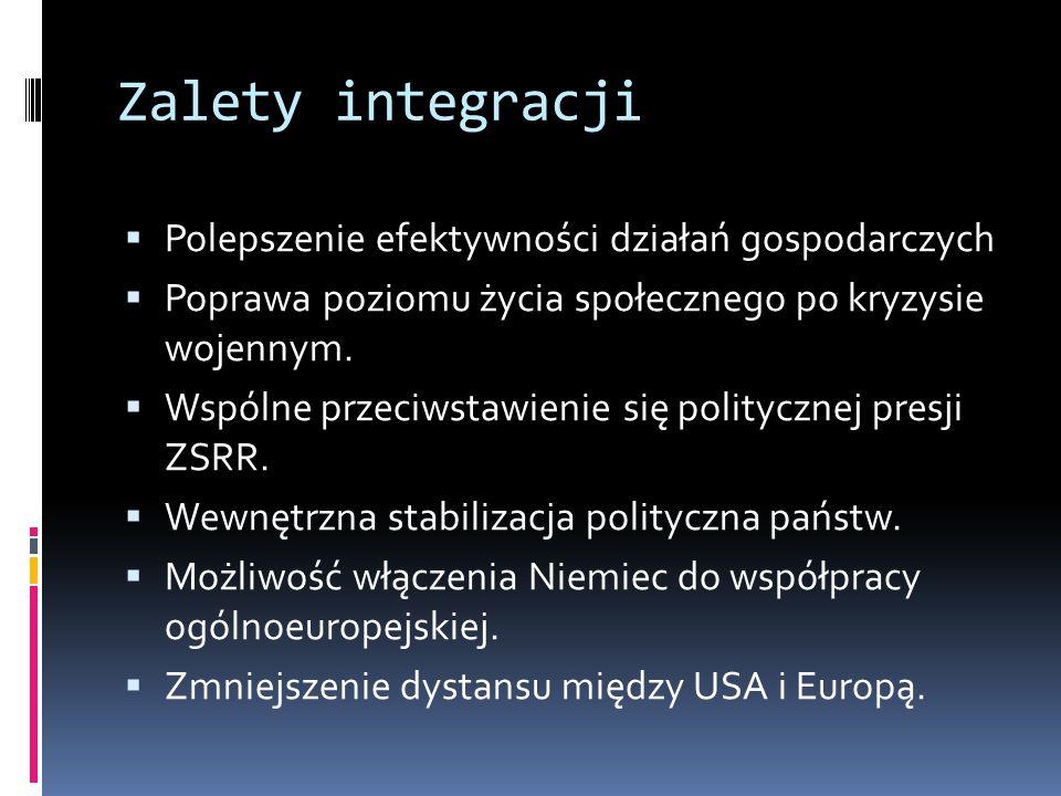 Zalety integracji Polepszenie efektywności działań gospodarczych