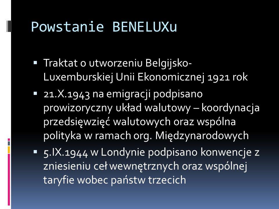 Powstanie BENELUXu Traktat o utworzeniu Belgijsko- Luxemburskiej Unii Ekonomicznej 1921 rok.