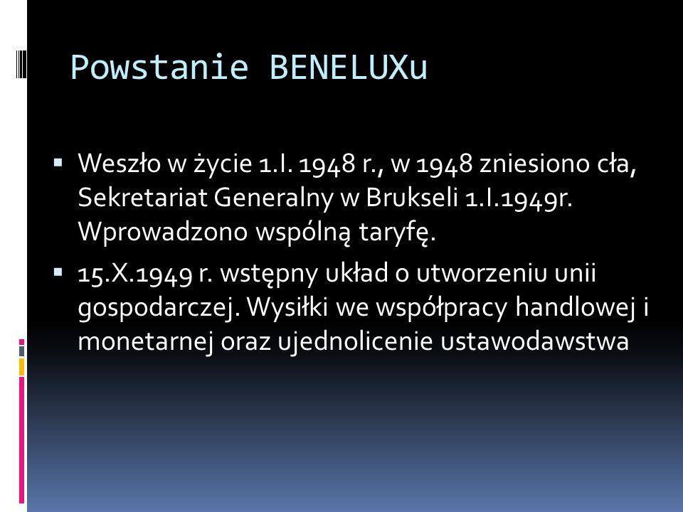 Powstanie BENELUXu Weszło w życie 1.I. 1948 r., w 1948 zniesiono cła, Sekretariat Generalny w Brukseli 1.I.1949r. Wprowadzono wspólną taryfę.