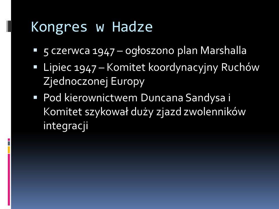 Kongres w Hadze 5 czerwca 1947 – ogłoszono plan Marshalla