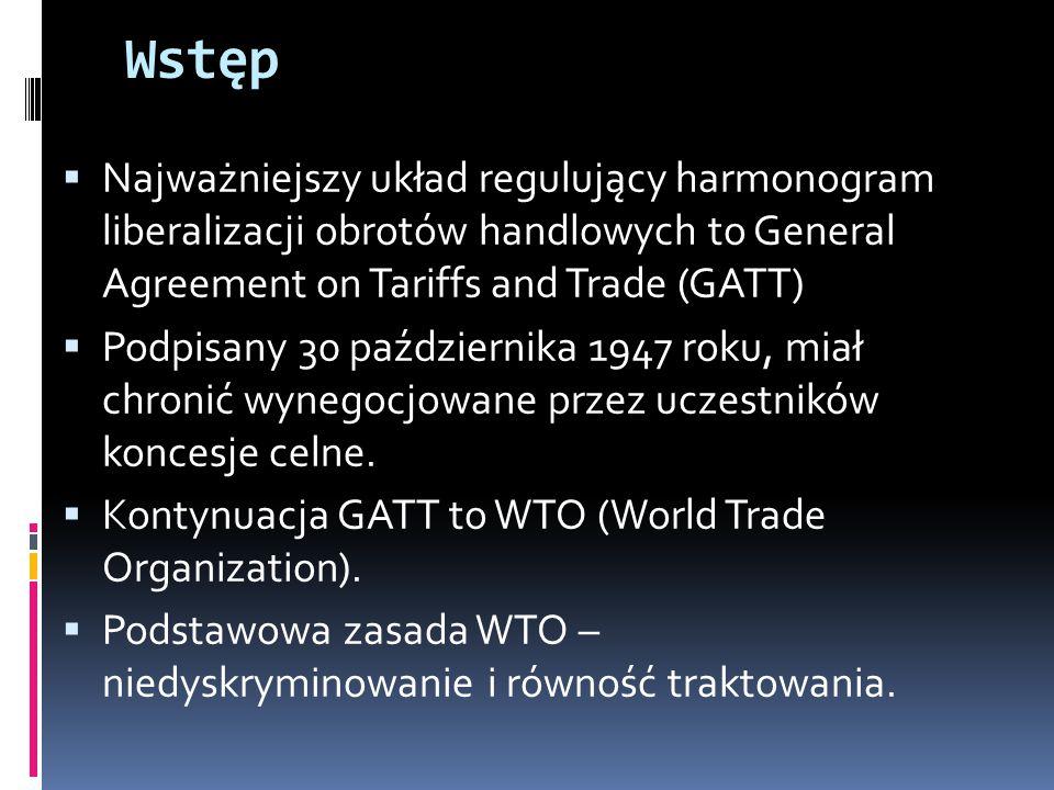 Wstęp Najważniejszy układ regulujący harmonogram liberalizacji obrotów handlowych to General Agreement on Tariffs and Trade (GATT)