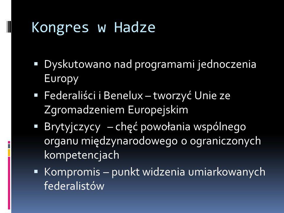 Kongres w Hadze Dyskutowano nad programami jednoczenia Europy