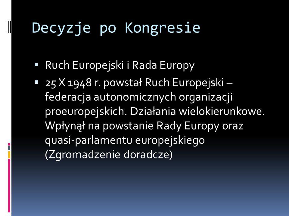 Decyzje po Kongresie Ruch Europejski i Rada Europy