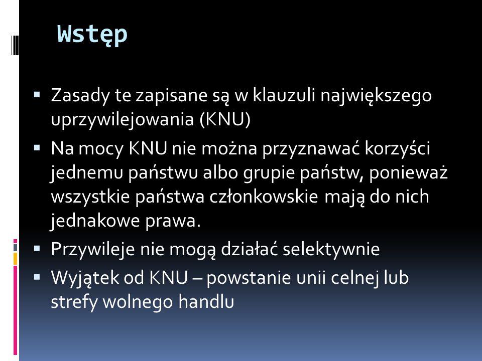 Wstęp Zasady te zapisane są w klauzuli największego uprzywilejowania (KNU)