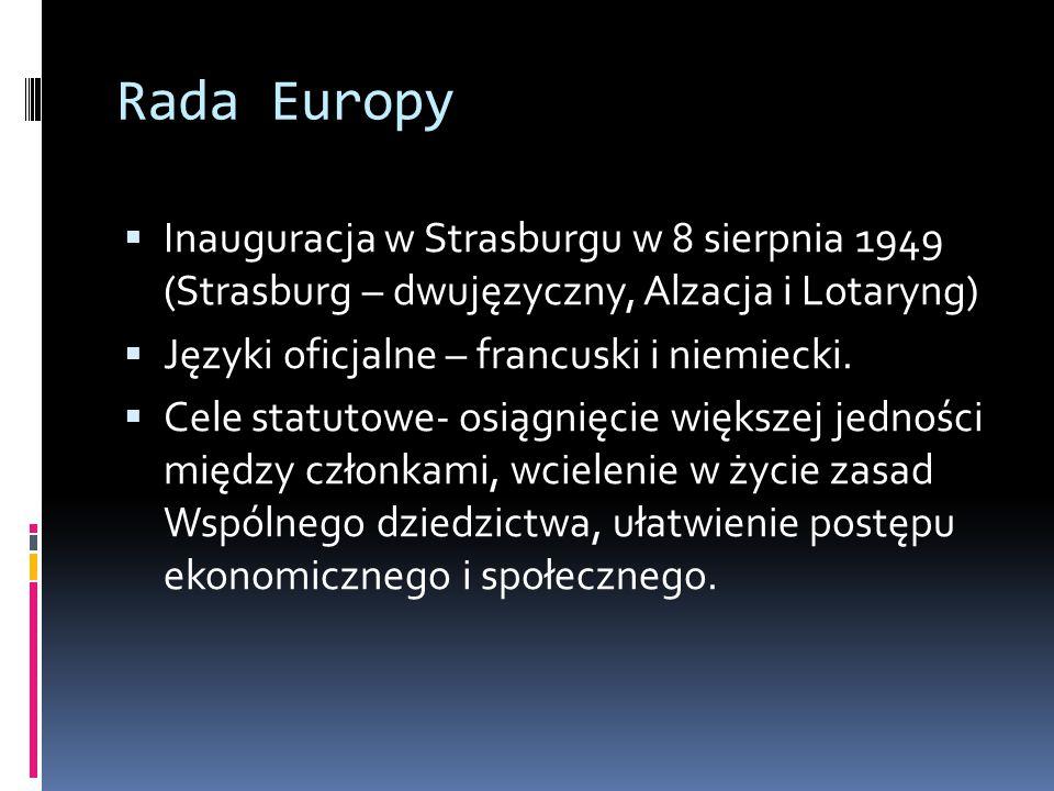 Rada Europy Inauguracja w Strasburgu w 8 sierpnia 1949 (Strasburg – dwujęzyczny, Alzacja i Lotaryng)