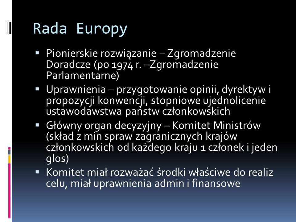 Rada Europy Pionierskie rozwiązanie – Zgromadzenie Doradcze (po 1974 r. –Zgromadzenie Parlamentarne)