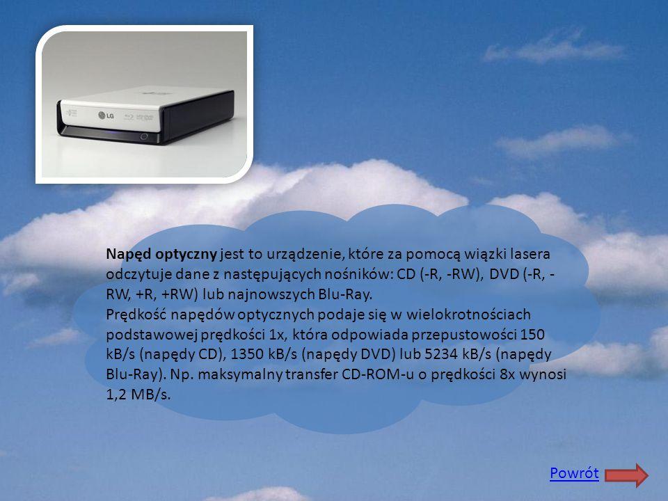Napęd optyczny jest to urządzenie, które za pomocą wiązki lasera odczytuje dane z następujących nośników: CD (-R, -RW), DVD (-R, -RW, +R, +RW) lub najnowszych Blu-Ray.