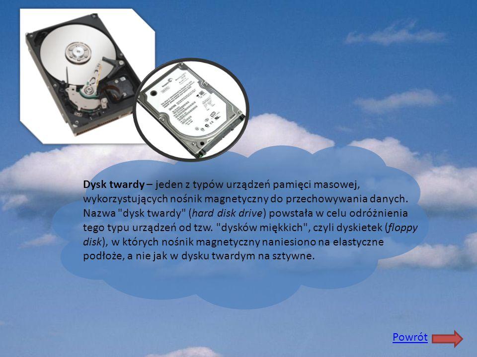 Dysk twardy – jeden z typów urządzeń pamięci masowej, wykorzystujących nośnik magnetyczny do przechowywania danych. Nazwa dysk twardy (hard disk drive) powstała w celu odróżnienia tego typu urządzeń od tzw. dysków miękkich , czyli dyskietek (floppy disk), w których nośnik magnetyczny naniesiono na elastyczne podłoże, a nie jak w dysku twardym na sztywne.