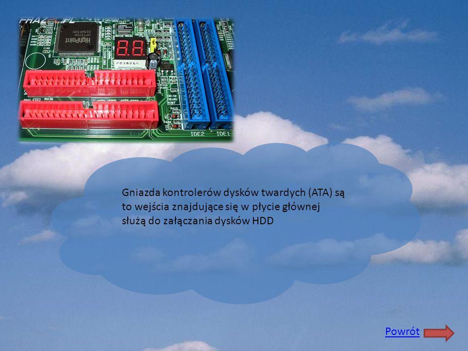Gniazda kontrolerów dysków twardych (ATA) są to wejścia znajdujące się w płycie głównej służą do załączania dysków HDD