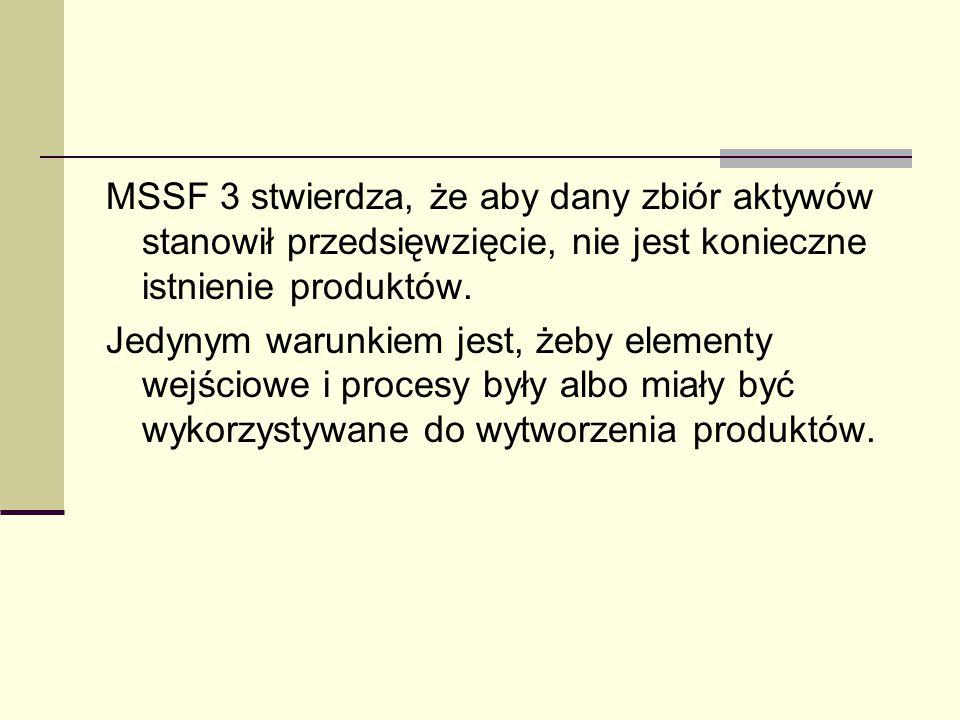 MSSF 3 stwierdza, że aby dany zbiór aktywów stanowił przedsięwzięcie, nie jest konieczne istnienie produktów.