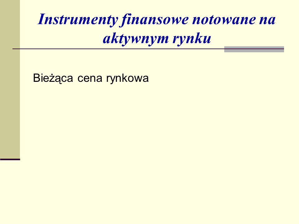 Instrumenty finansowe notowane na aktywnym rynku