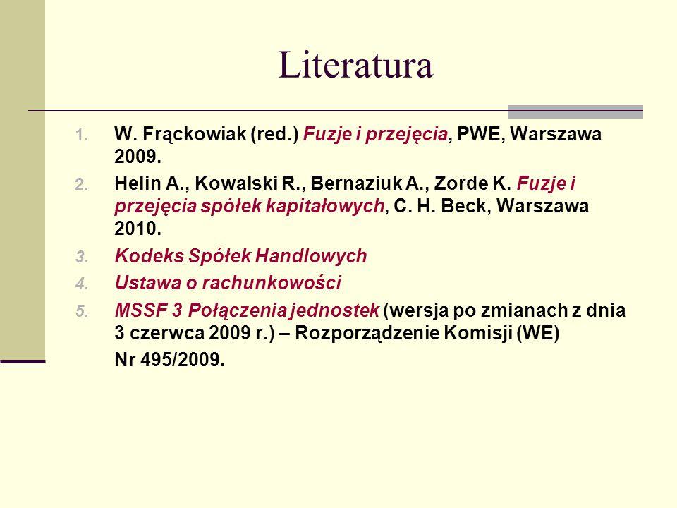 Literatura W. Frąckowiak (red.) Fuzje i przejęcia, PWE, Warszawa 2009.