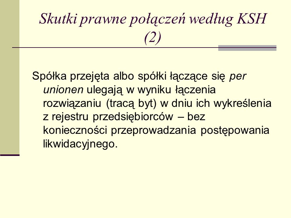 Skutki prawne połączeń według KSH (2)