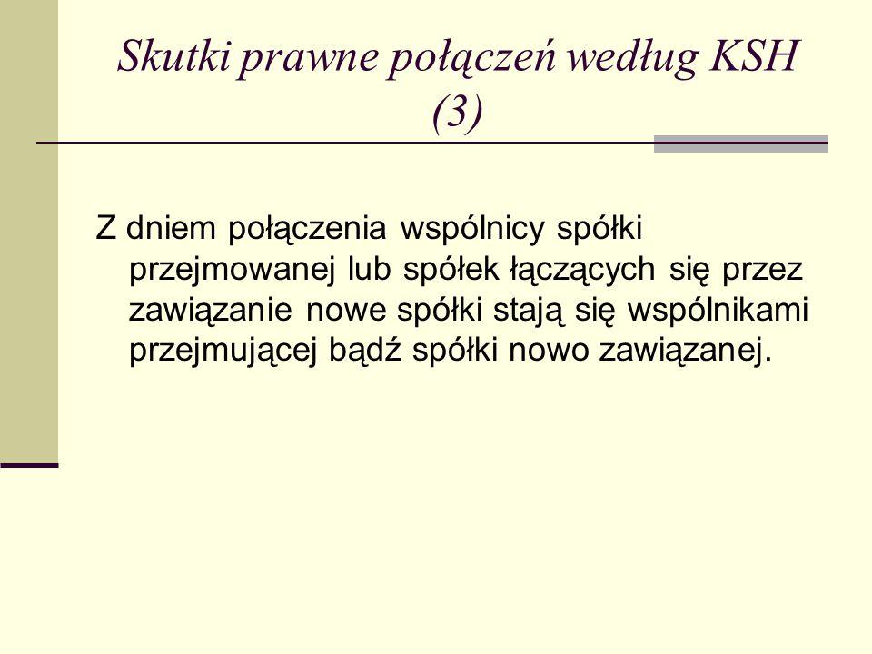 Skutki prawne połączeń według KSH (3)