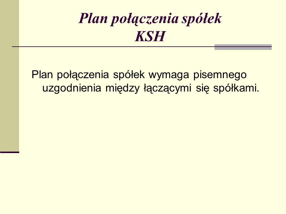 Plan połączenia spółek KSH