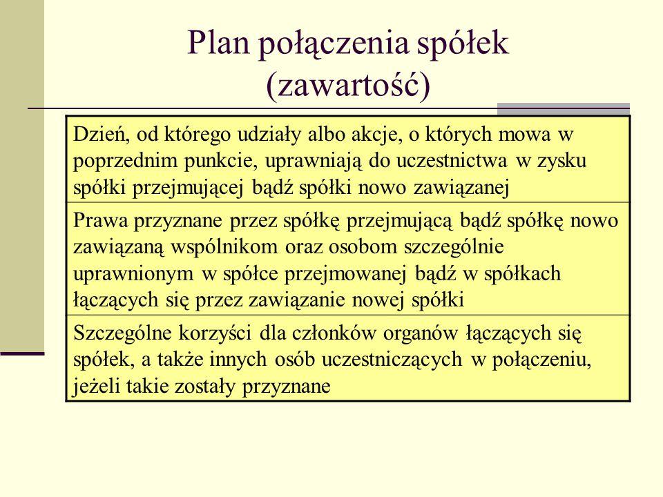 Plan połączenia spółek (zawartość)