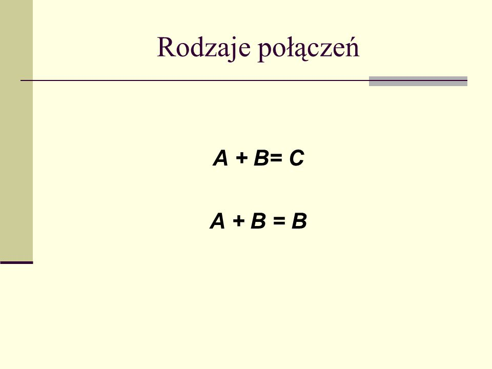 Rodzaje połączeń A + B= C A + B = B