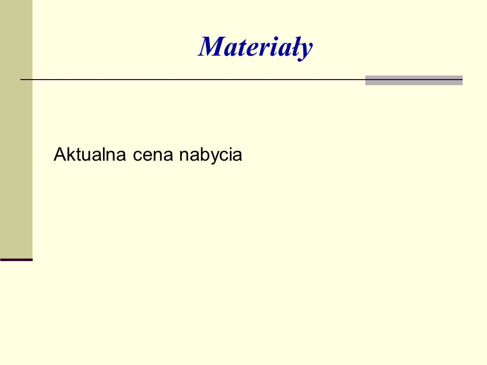 Materiały Aktualna cena nabycia