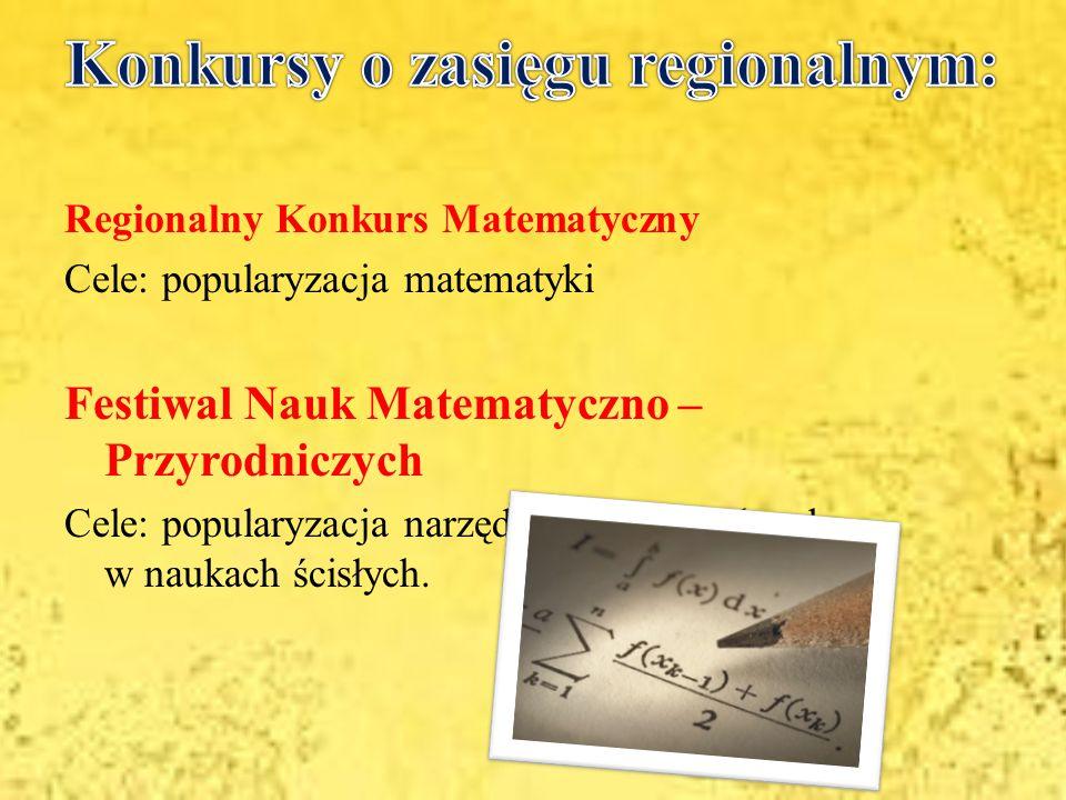 Konkursy o zasięgu regionalnym: