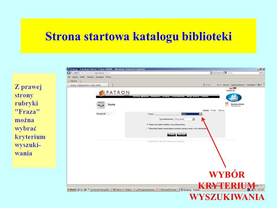 Strona startowa katalogu biblioteki