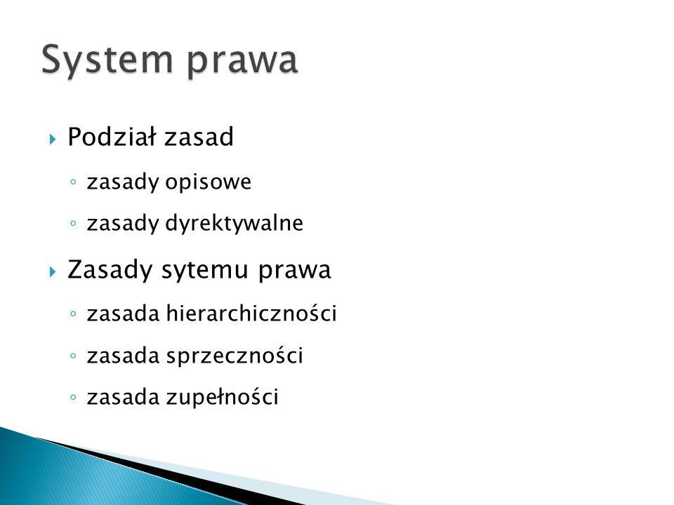 System prawa Podział zasad Zasady sytemu prawa zasady opisowe