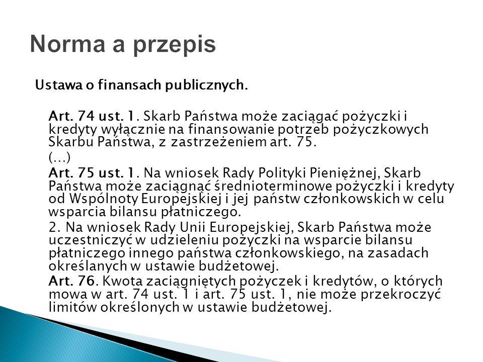 Norma a przepis Ustawa o finansach publicznych.