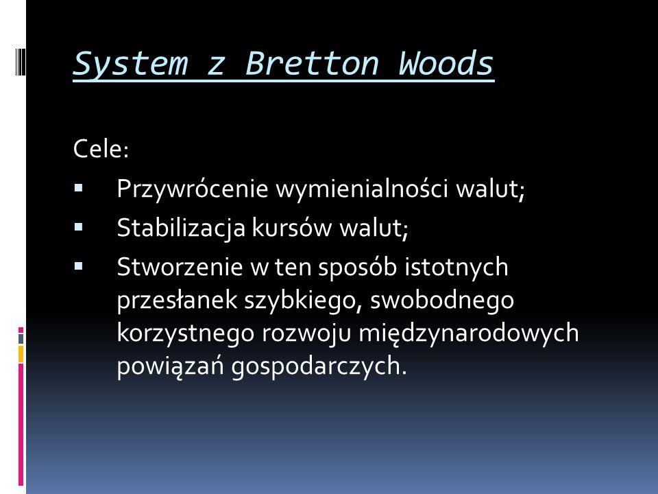 System z Bretton Woods Cele: Przywrócenie wymienialności walut;