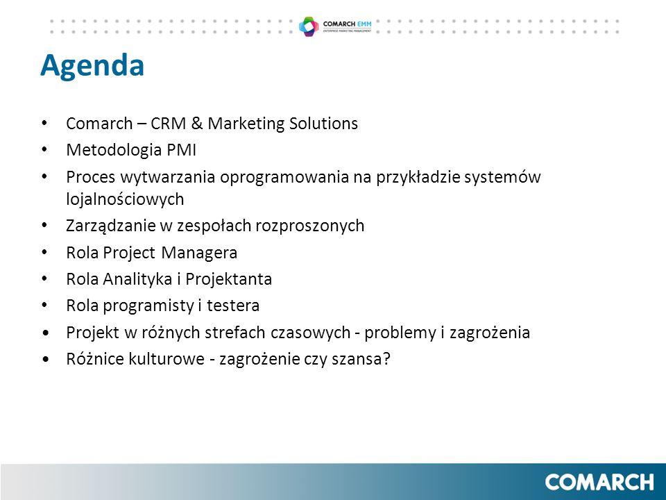 Agenda Comarch – CRM & Marketing Solutions Metodologia PMI