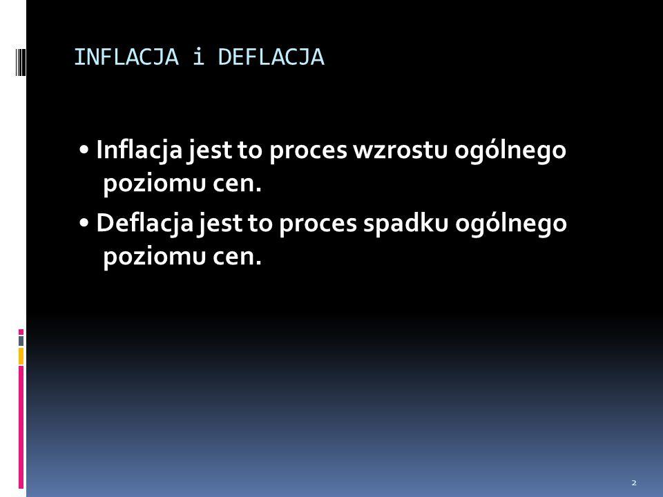 INFLACJA i DEFLACJA • Inflacja jest to proces wzrostu ogólnego poziomu cen.