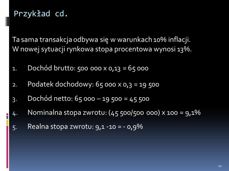 Przykład cd. Ta sama transakcja odbywa się w warunkach 10% inflacji.