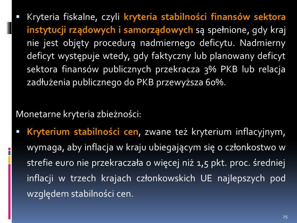 Kryteria fiskalne, czyli kryteria stabilności finansów sektora instytucji rządowych i samorządowych są spełnione, gdy kraj nie jest objęty procedurą nadmiernego deficytu. Nadmierny deficyt występuje wtedy, gdy faktyczny lub planowany deficyt sektora finansów publicznych przekracza 3% PKB lub relacja zadłużenia publicznego do PKB przewyższa 60%.