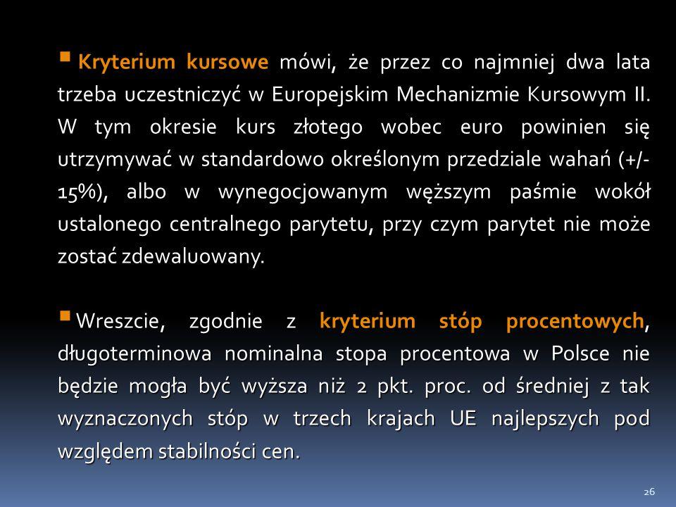 Kryterium kursowe mówi, że przez co najmniej dwa lata trzeba uczestniczyć w Europejskim Mechanizmie Kursowym II. W tym okresie kurs złotego wobec euro powinien się utrzymywać w standardowo określonym przedziale wahań (+/-15%), albo w wynegocjowanym węższym paśmie wokół ustalonego centralnego parytetu, przy czym parytet nie może zostać zdewaluowany.