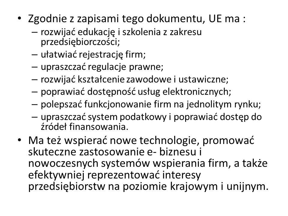 Zgodnie z zapisami tego dokumentu, UE ma :