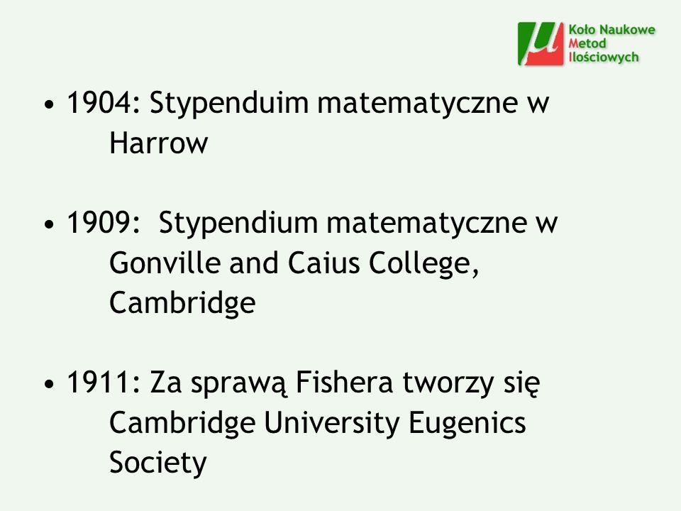 1904: Stypenduim matematyczne w Harrow