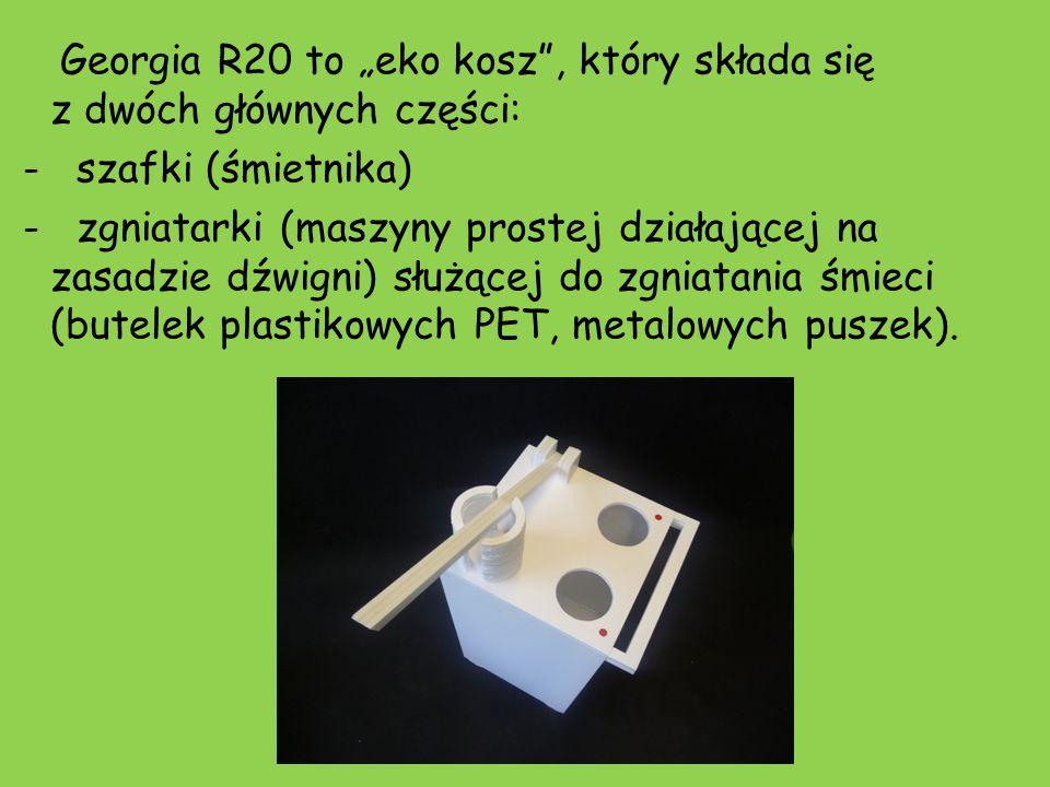 """Georgia R20 to """"eko kosz , który składa się z dwóch głównych części: - szafki (śmietnika) - zgniatarki (maszyny prostej działającej na zasadzie dźwigni) służącej do zgniatania śmieci (butelek plastikowych PET, metalowych puszek)."""