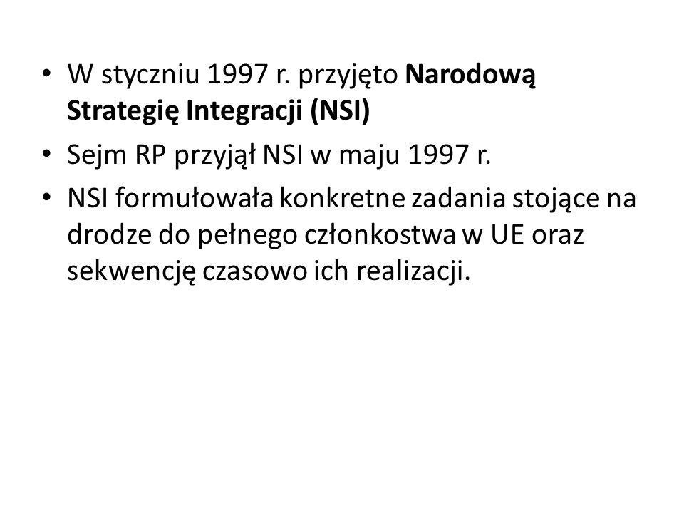 W styczniu 1997 r. przyjęto Narodową Strategię Integracji (NSI)