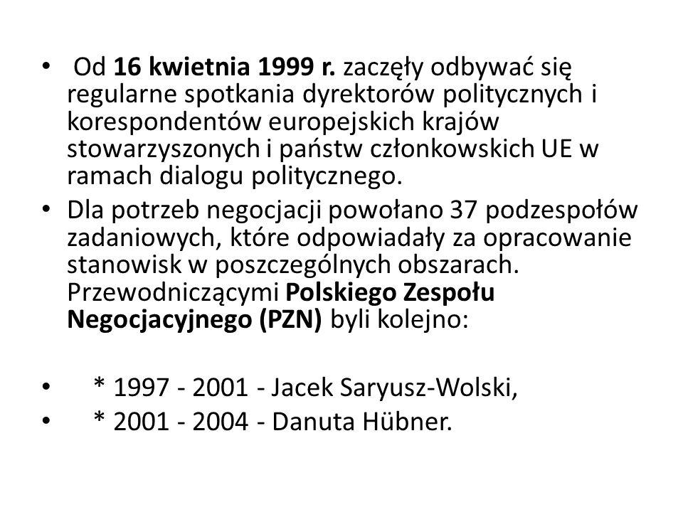 Od 16 kwietnia 1999 r. zaczęły odbywać się regularne spotkania dyrektorów politycznych i korespondentów europejskich krajów stowarzyszonych i państw członkowskich UE w ramach dialogu politycznego.