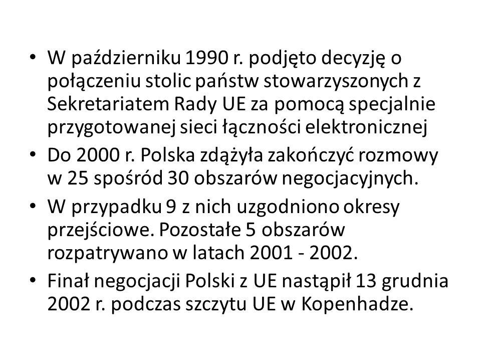 W październiku 1990 r. podjęto decyzję o połączeniu stolic państw stowarzyszonych z Sekretariatem Rady UE za pomocą specjalnie przygotowanej sieci łączności elektronicznej