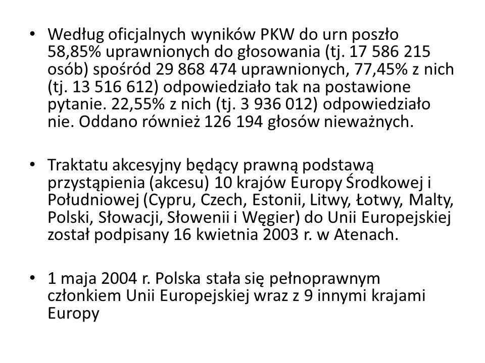 Według oficjalnych wyników PKW do urn poszło 58,85% uprawnionych do głosowania (tj. 17 586 215 osób) spośród 29 868 474 uprawnionych, 77,45% z nich (tj. 13 516 612) odpowiedziało tak na postawione pytanie. 22,55% z nich (tj. 3 936 012) odpowiedziało nie. Oddano również 126 194 głosów nieważnych.