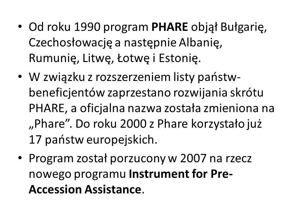Od roku 1990 program PHARE objął Bułgarię, Czechosłowację a następnie Albanię, Rumunię, Litwę, Łotwę i Estonię.