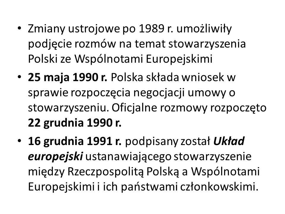 Zmiany ustrojowe po 1989 r. umożliwiły podjęcie rozmów na temat stowarzyszenia Polski ze Wspólnotami Europejskimi
