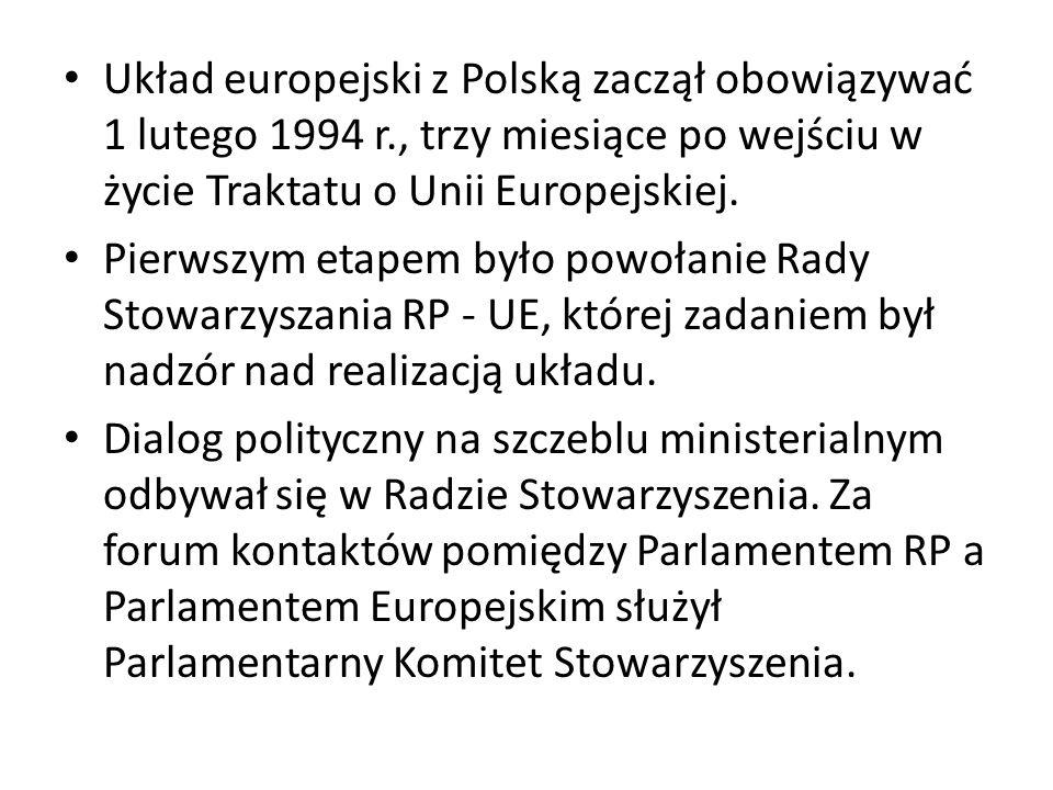 Układ europejski z Polską zaczął obowiązywać 1 lutego 1994 r