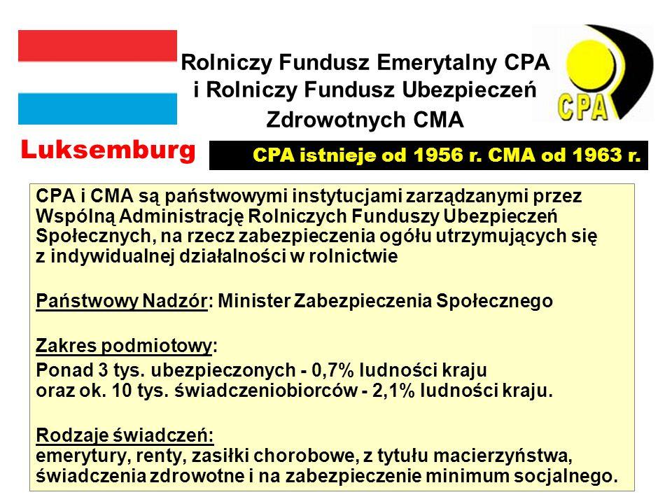 Rolniczy Fundusz Emerytalny CPA i Rolniczy Fundusz Ubezpieczeń Zdrowotnych CMA