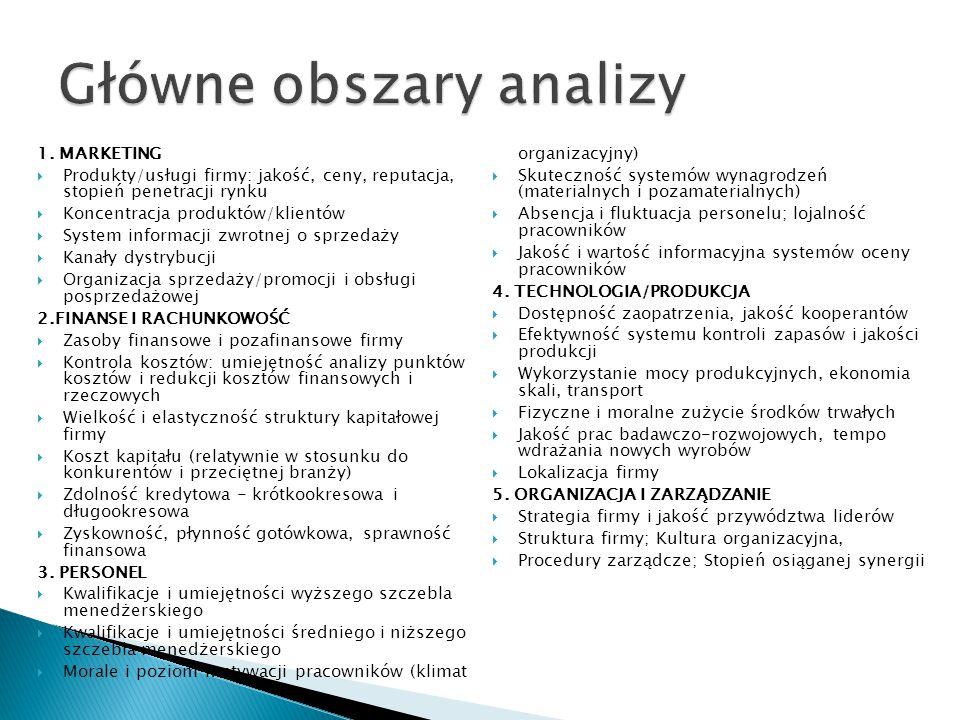 Główne obszary analizy