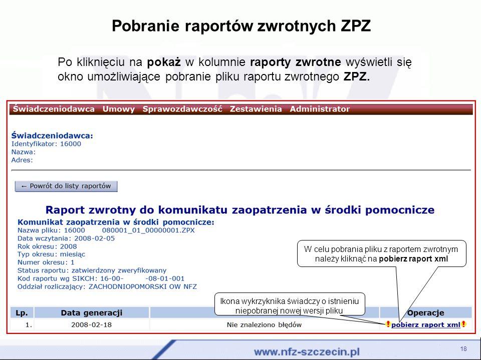 Pobranie raportów zwrotnych ZPZ