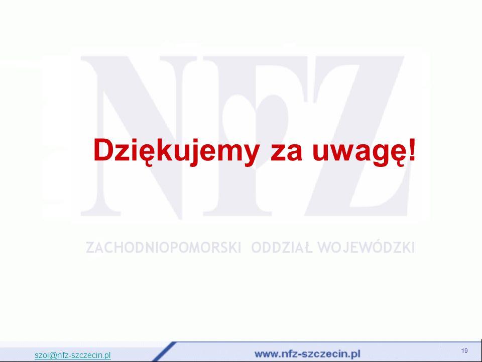 Dziękujemy za uwagę! szoi@nfz-szczecin.pl