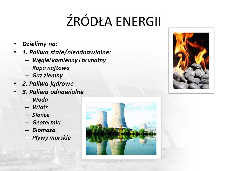ŹRÓDŁA ENERGII Dzielimy na: 1. Paliwa stałe/nieodnawialne: